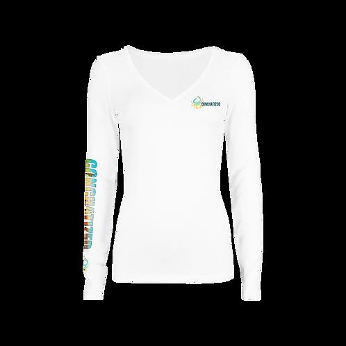 Women's long sleeve - Vneck -Blue crab design