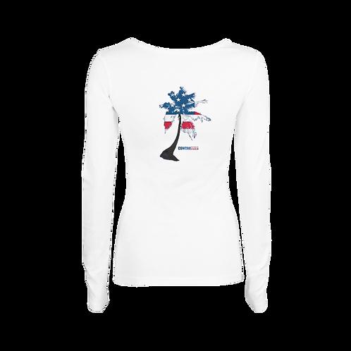 Women's long sleeve - Vneck - Palm tree American Flag