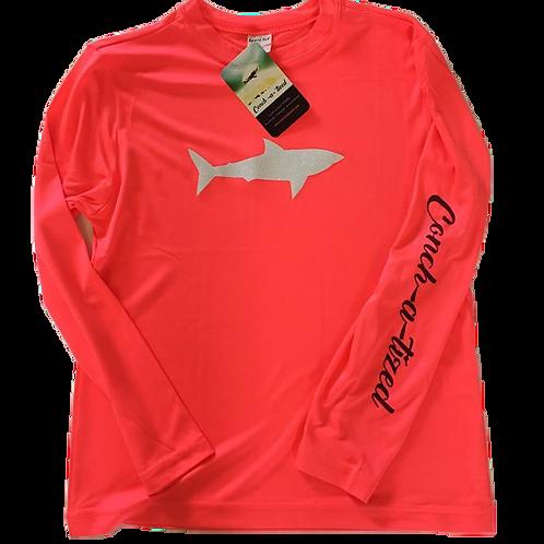 GLITTER shark- Hot coral, Performance Long sleeve 100% Polyester