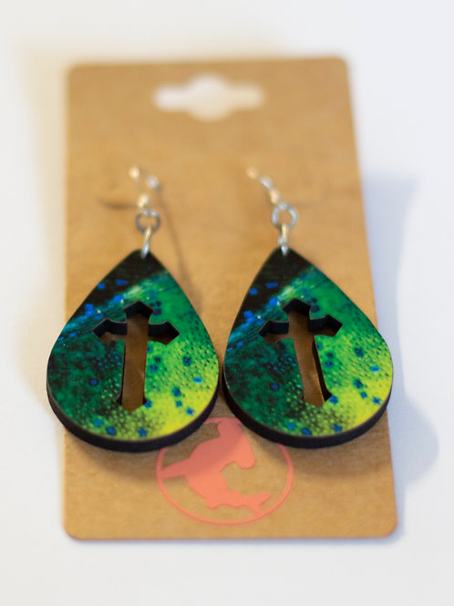 Earrings, Teardrop, Mahi, Handmade in the Florida keys