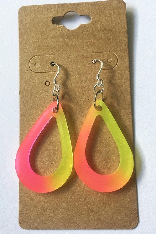 Resin earrings, Handmade, Neon, Glow in the dark