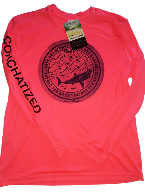 Kids - Save our oceans. Hot coral,Performance long sleeve