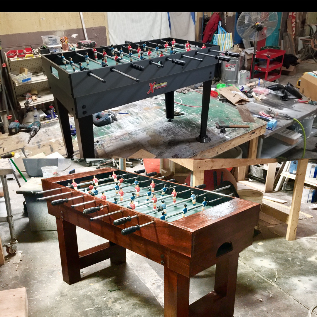 Before and After Fussball Table