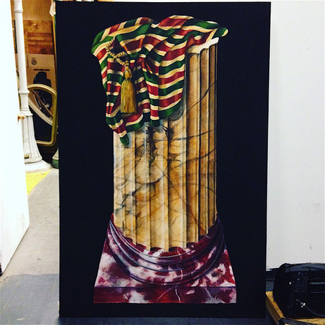 Marble Column with Fabric Painting