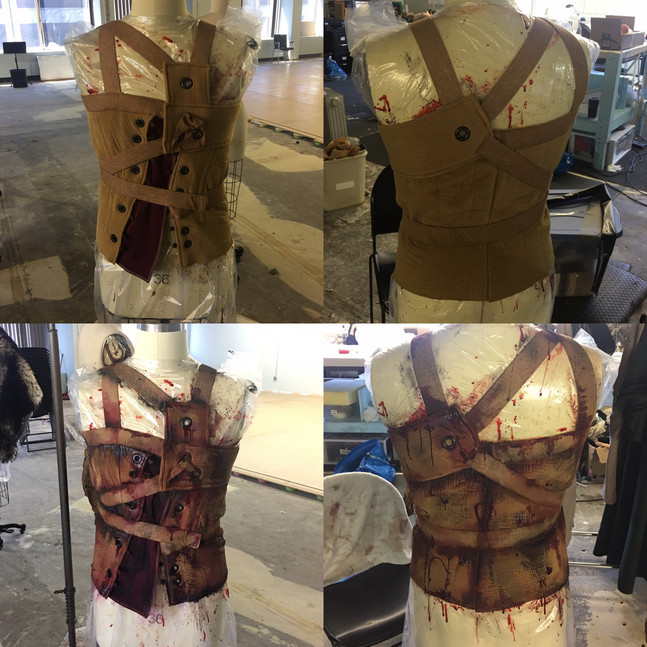 Before and After Blood and Distress Painting on Frankenstein's Corset