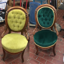 Before and After upholstered chair