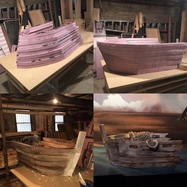 Foam carved boat for The Ridiculous Darkness