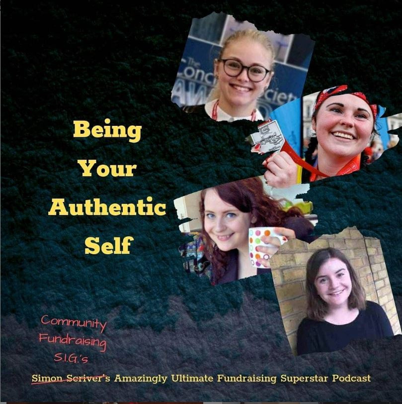 "Header image featuring the title ""Being your authentic self"" and headshots of Millie, Sarah, Emily and Alice"