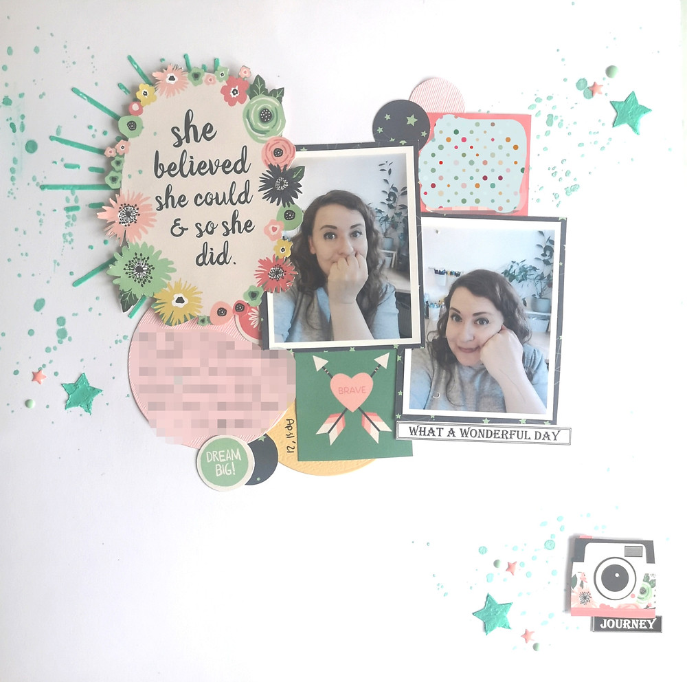 """White background, two selfie photos of me (white brunette woman) Decorated with pink and turquoise embellishments including a camera and sentiment that reads """"she believed she could so she did"""""""