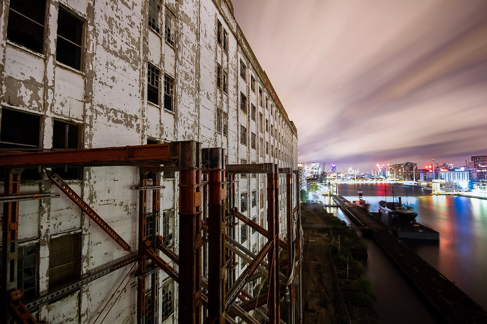 Rooftop of the abandoned mill at the Docklands in London