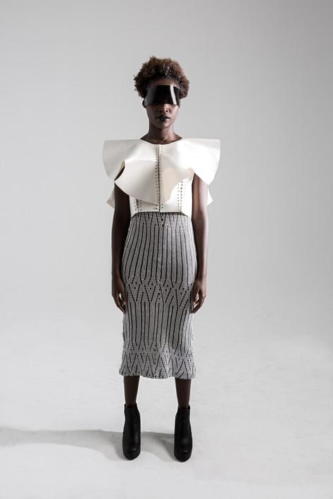 Sculptural lace up top, and lurex knit dress