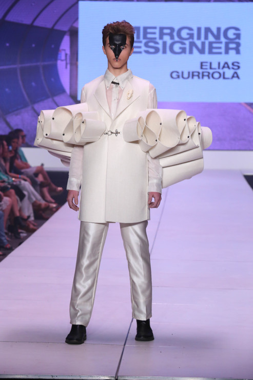 Infinity coat and creme silk trouser