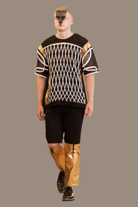 Machine knit, black, white, and gold sweater over color blocked open knee trouser