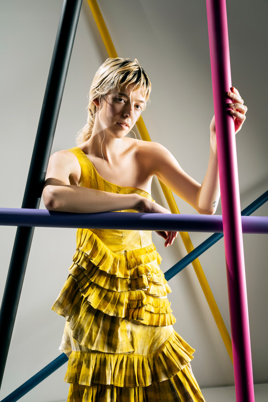 Yellow linen pleated jumpsuit