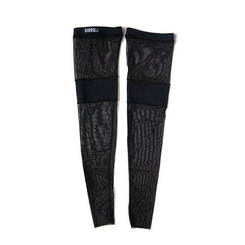 Matte black thigh high socks