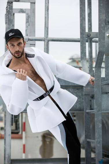 Neoprene jacket and racer leggings