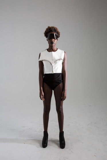 Sculptural lace up top, and interlock brief