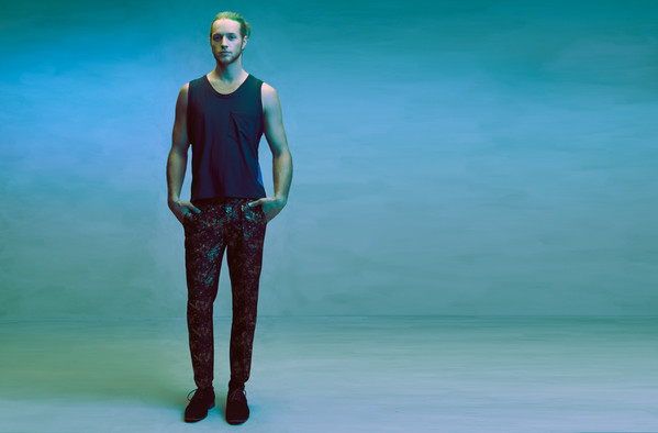 Leather spine tank, and brocade trouser