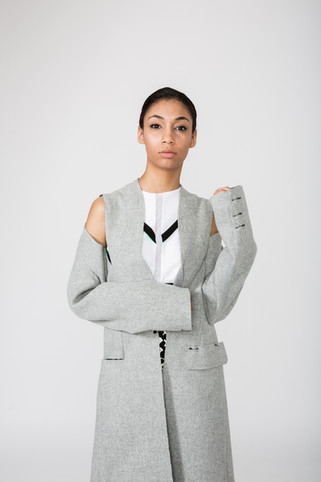 Sports crop top, with raw edged wool overcoat