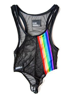 Black high cut mesh thong bodysuit w/ rainbow stripe
