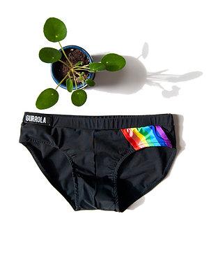Matte black swim brief w/logo on waistband, & rainbow stripe