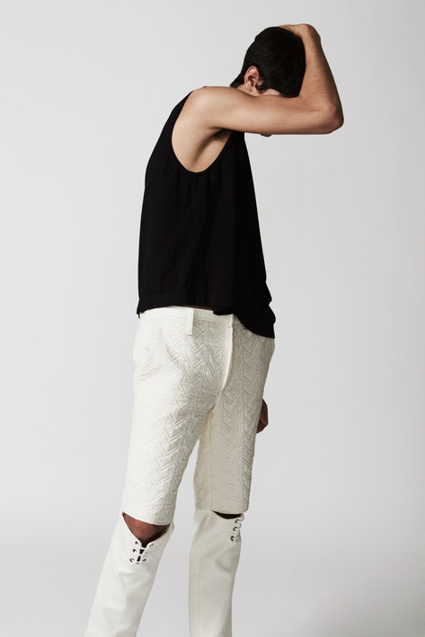 Quilted open knee trouser