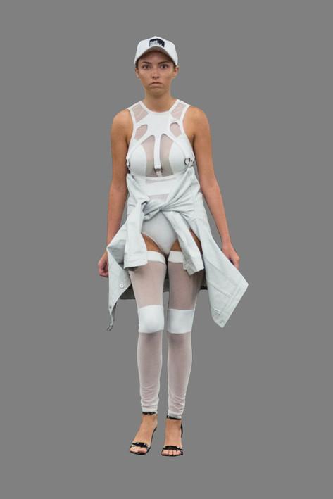 White ring bodysuit and painted denim jacket