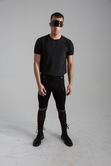 Embelised tee, and lace up legging