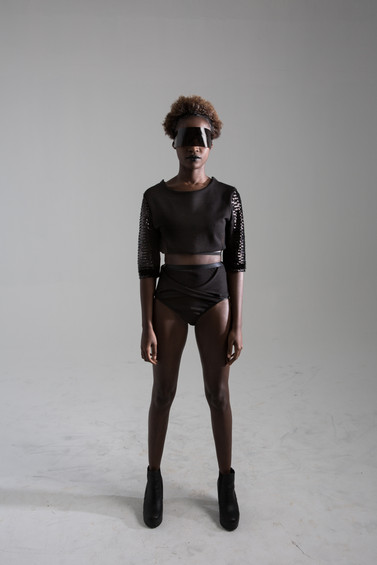 Sports top, with sequin sleeves and interlock brief