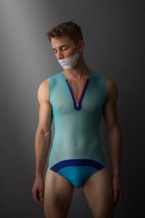 Sheer bodysuit with front zip
