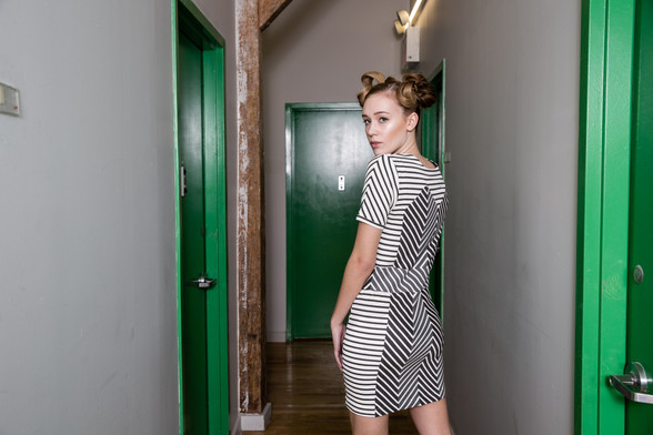Stripped dress with front zip