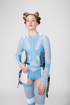Velour and mesh bodysuit