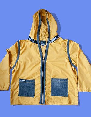 Mustard hooded rain jacket w/ logo collar