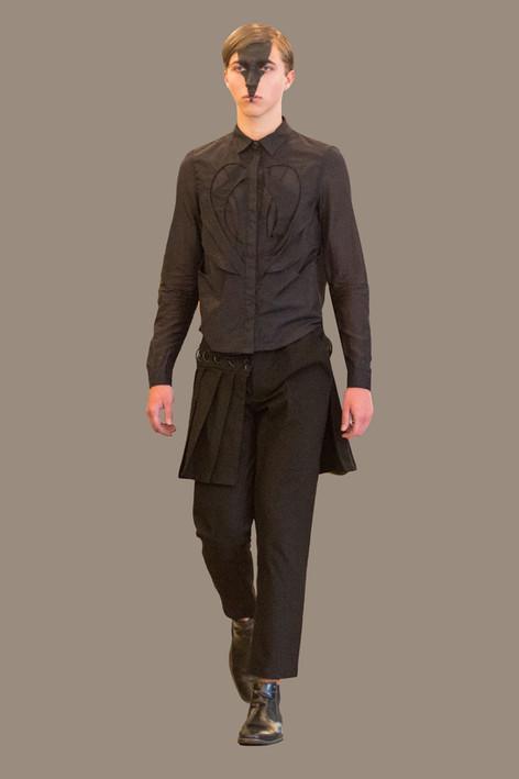 Interlock button up, and half skirt trouser