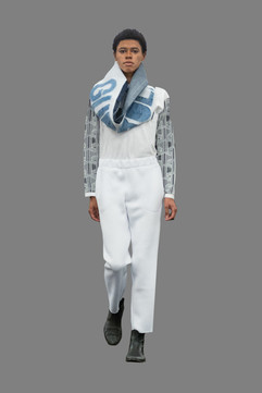 Infinity scarf, interlock tee, neoprene slouchy pant
