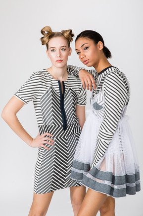 Stripped dress, bodysuit, and tulle babydoll dress