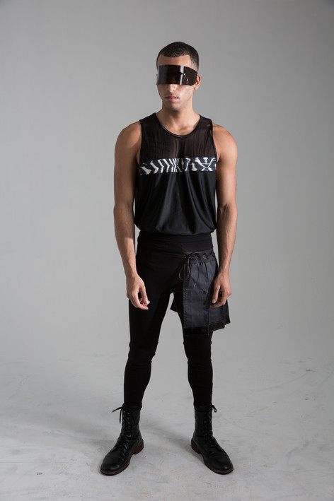Print blocked tank, with half skirt legging