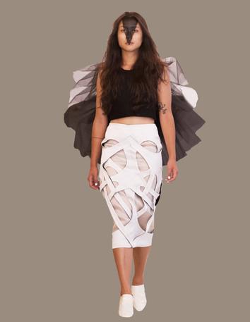 Tulle ruffle wool crop, over Interlock skirt