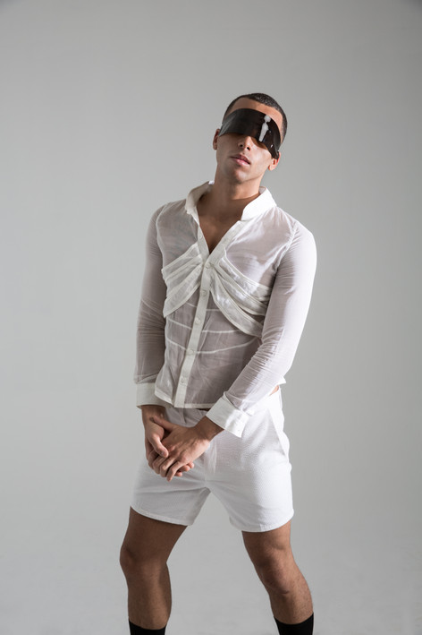 Rib button up, and seersucker shorts