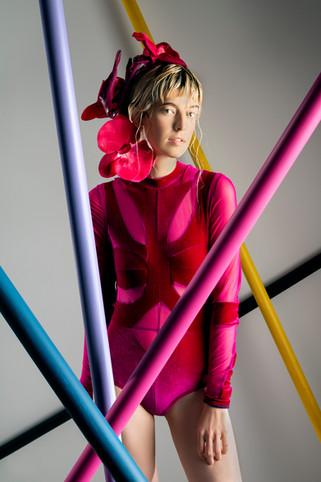 Magenta mesh, and velour bodysuit