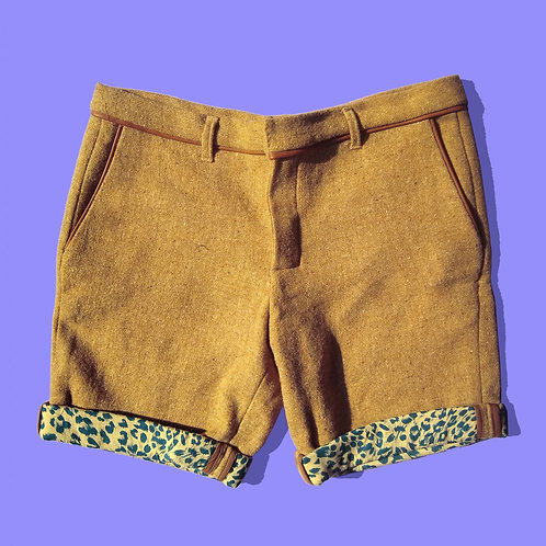 Wool Shorts w/ Vegan Leather Pipping