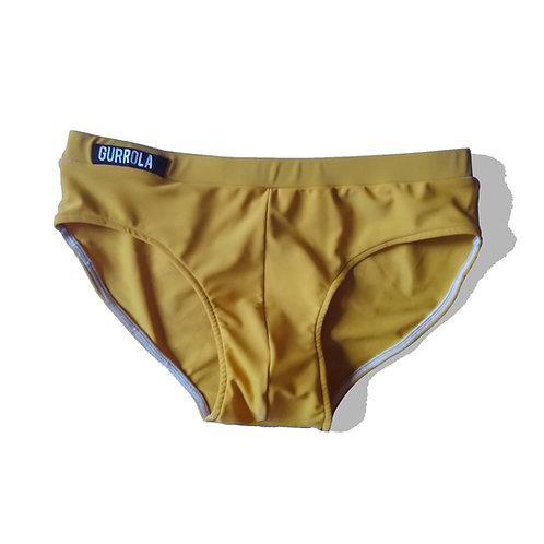 Mustard swim briefs w/ waistband logo