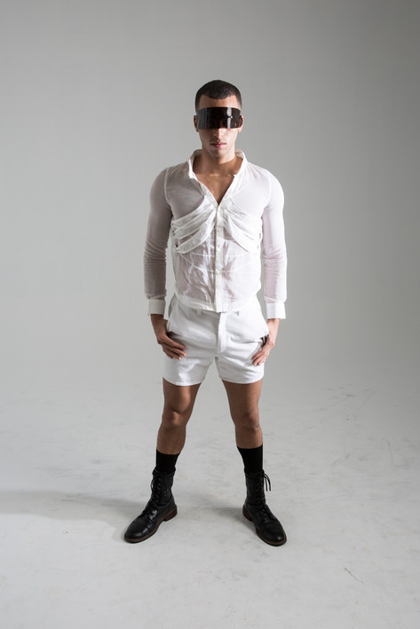 Rib button up, and seer sucker shorts