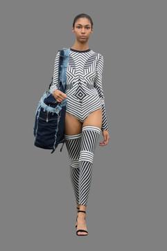 Stripped bodysuit, and oversized denim bag