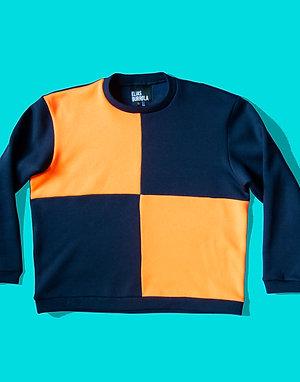 Navy grid sweater