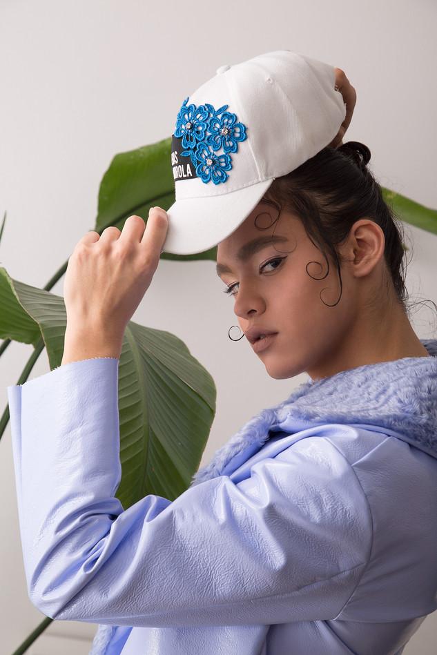 Vinyl jacket and applique logo cap