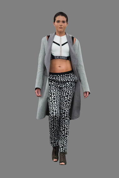 Shorts crop top, with hatch printed trouser, and raw edged wool overcoat