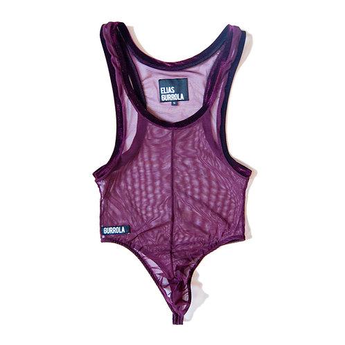Merlot high cut mesh thong bodysuit