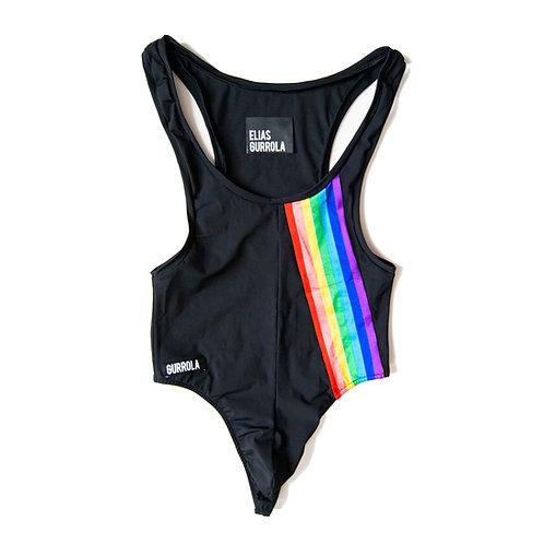 Matte black high cut swim thong bodysuit w/ rainbow stripe