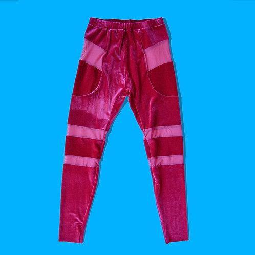 Magenta velour leggings